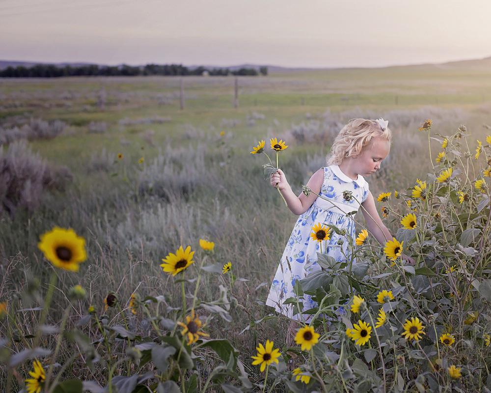 Barn på äng plockar blommor